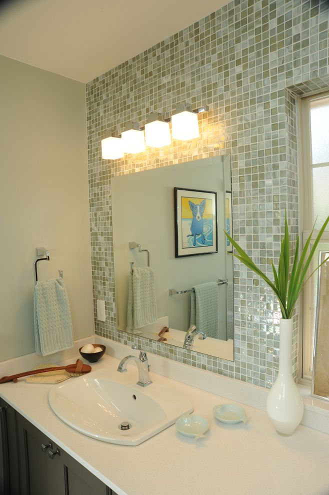 Bathroom Light Fixture with Outlet Plug   Contemporary Bathroom  and Bathroom Light Blue Dog Blue Tile Glass Tile Green and Blue Mosaic Overmount Sink Sconce Vase