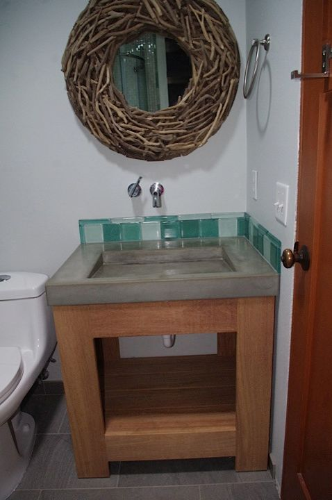 Bathroom Remodles   Industrial Bathroom Also Bathroom Sink Concrete Bathroom Vanity Concrete Sink Bathroom Green Tile Wood and Concrete Bathroom Vanity