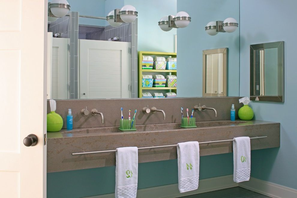 Bathroom Towel Bar Height   Beach Style Bathroom Also Beach Cottage Beach Home Beachfront Bunk Beds Colorful Bathroom Custom Eclectic Family Friendly Functional Lakeside Pool Three Sinks Towel Bar Waterfront Wine Room