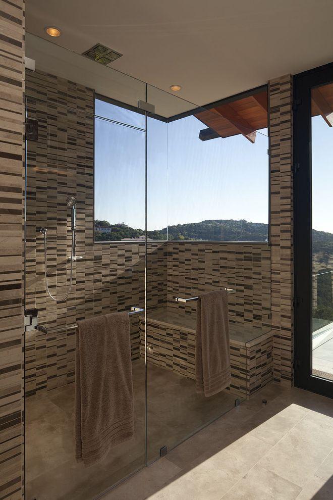 Bathroom Towel Bar Height with Contemporary Bathroom Also Ceiling Lighting Corner Windows Eaves Glass Shower Door Neutral Colors Overhang Rain Shower Head Recessed Lighting Shower Bench Shower Window View