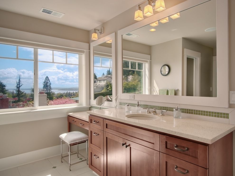 Bathroom Vanities Near Me   Traditional Bathroom Also Green Mosaic Tile Mirror Vanity Stool View Wall Sconce White Counters Wood Cabinets