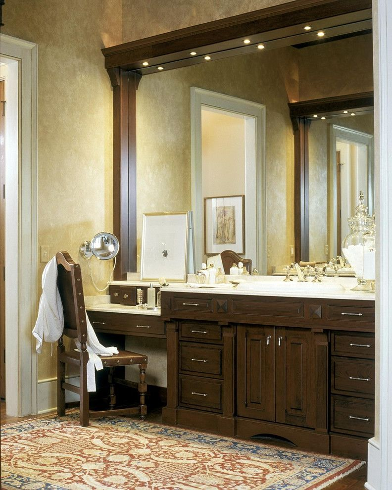 Bathroom Vanity with Makeup Station with Traditional Bathroom Also Apothecary Jars Baseboard Makeup Area Oriental Rug Paint Treatment Recessed Lighting Vanity Area Wall Treatment Wood Cabinetry