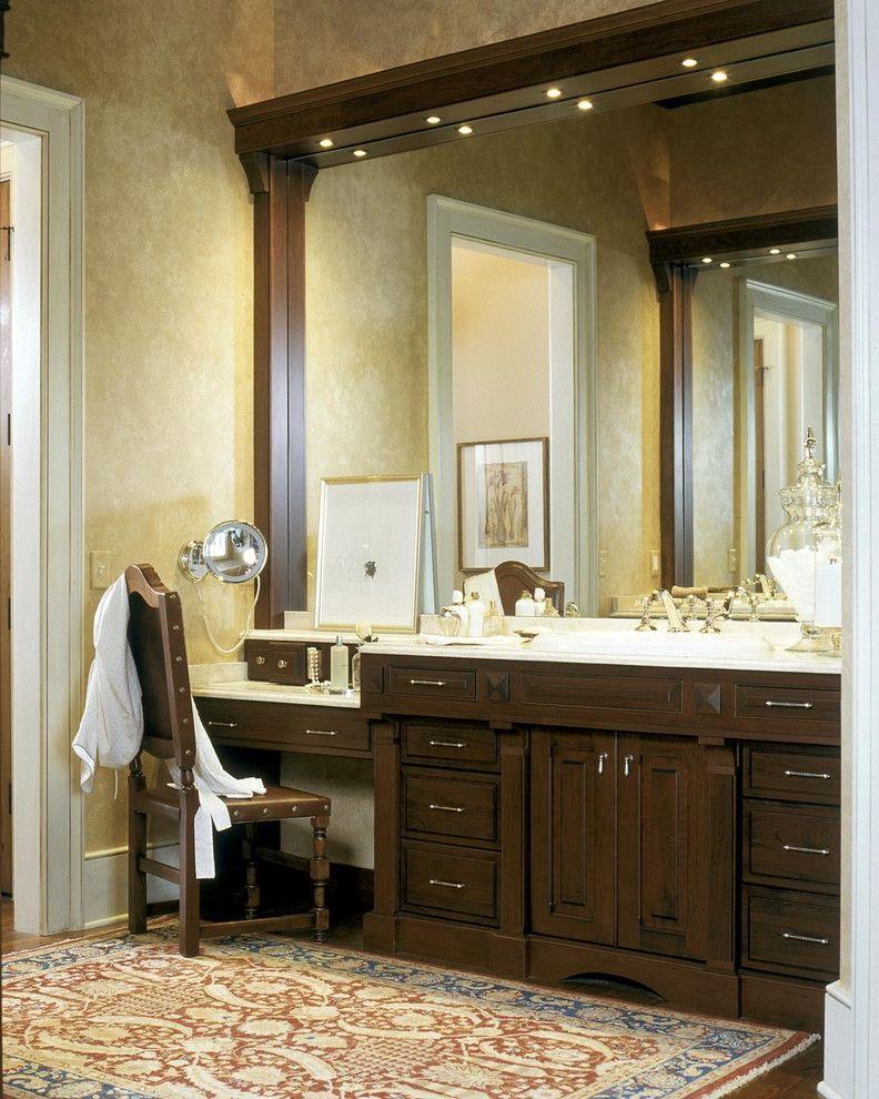 Bathroom Vanity With Makeup Station With Traditional Bathroom Also - Baseboard around bathroom vanity