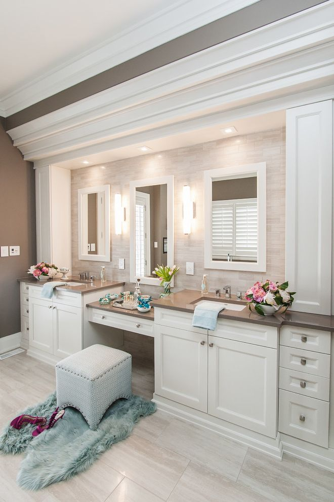 Bathroom Vanity with Makeup Station with Traditional Bathroom  and Traditional