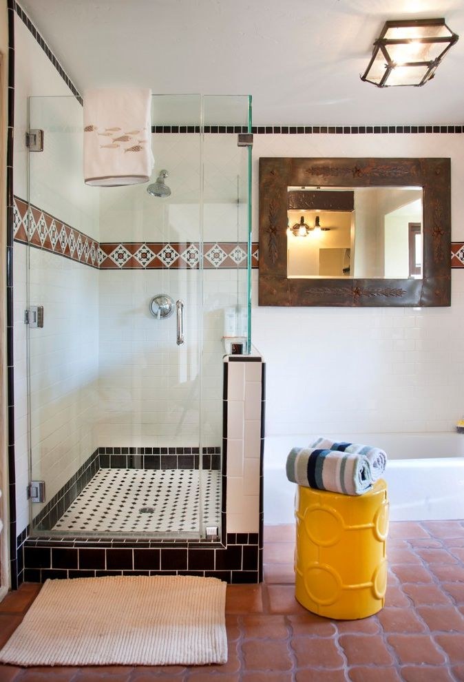 Bathrooms in Spanish with Mediterranean Bathroom Also California Mission Contemporary Furnishings Eclectic Furnishings Fish Towel Historic Remodel Mexican Tile Pattern Texture Yellow Side Table