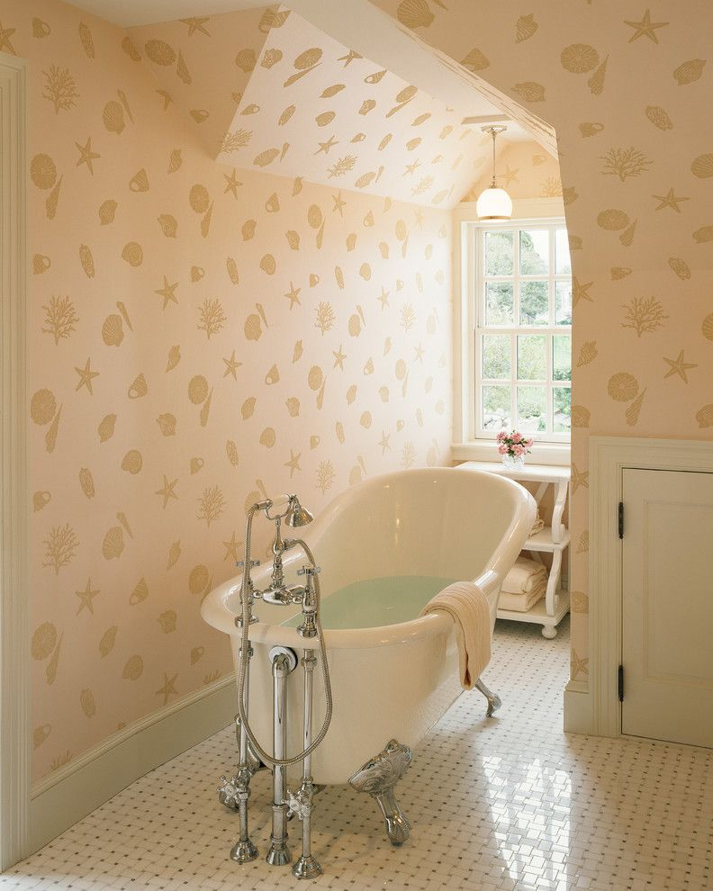 Bathtub Faucet with Sprayer   Traditional Bathroom Also Basketweave Floor Bathroom Window Dormer Window Freestanding Bathtub Nautical Pendant Light Seashell Wallpaper Shells Slanted Ceiling Starfish Tile Floor