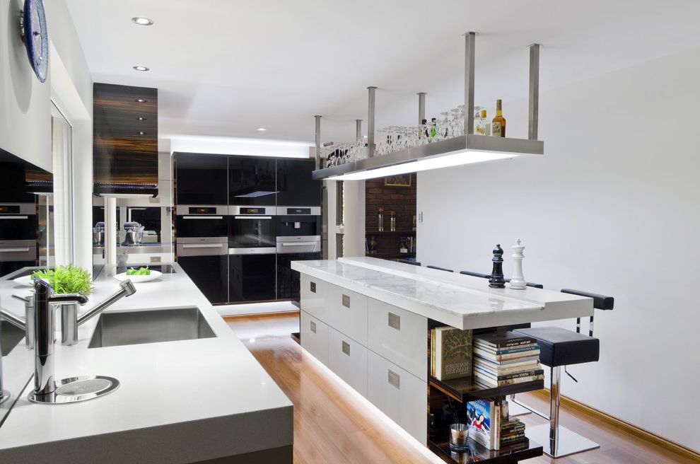 Battery Operated Recessed Lights   Contemporary Kitchen Also Barware Breakfast Bar Ceiling Lighting Cove Lighting Eat in Kitchen Glossy Kitchen Island Recessed Lighting Stainless Steel Appliances Two Tone Cabinets Under Cabinet Lighting