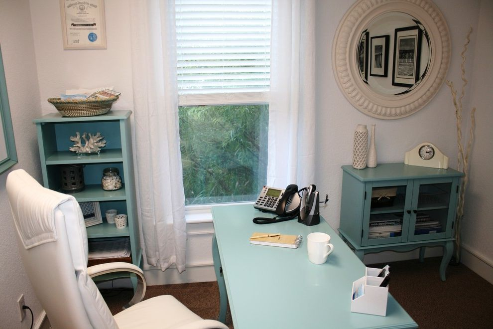 Beach Themed Office with Beach Style Home Office  and Beach Theme Blue and White Office Traditional