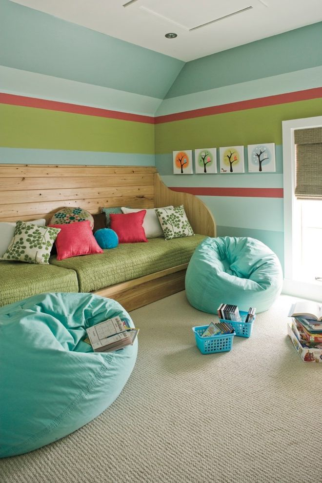Bean Bags for Adults   Beach Style Family Room  and Beige Carpet Blue Beanbags Built in Bench Colorful Paint Daybed Decorative Throw Pillows Striped Walls Toy Storage Turquoise Wall Art Wood Bench