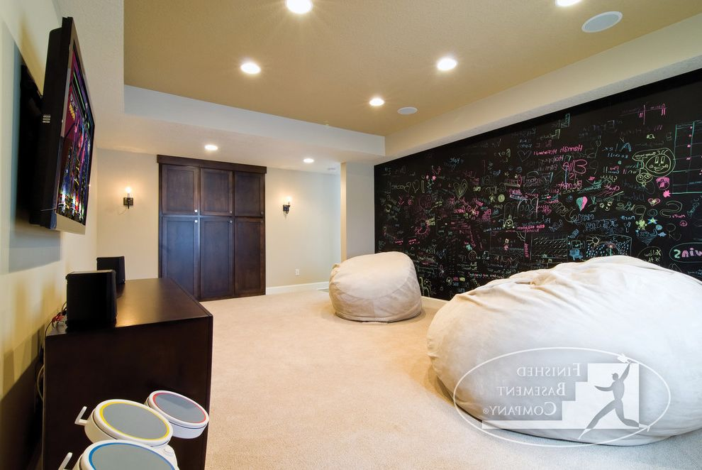 Bean Bags for Adults   Contemporary Basement Also Basement Basement Finishing Bean Bag Chalkboard Chalkboard Wall Finished Basement Game Room Playstation Video Games Xbox