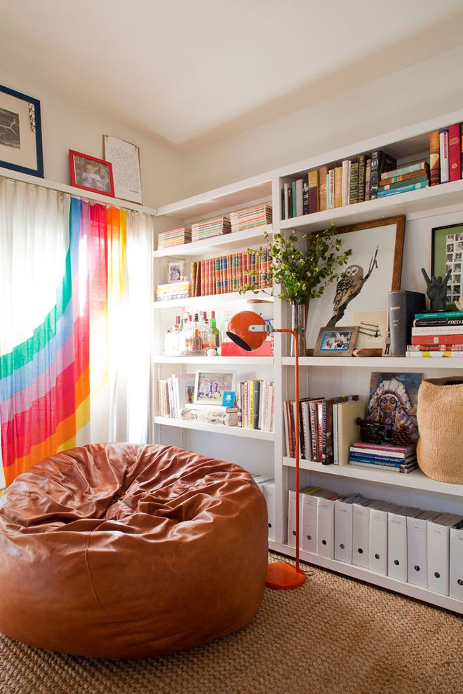 Bean Bags for Adults with Eclectic Living Room Also Book Shelves Brown Leather Bean Bag Chair Orange Floor Lamp Organization Owl Art Rainbow Curtain Rainbow Window Treatment Shelf Decor Vaulted Ceiling White Bookcase Woven Rug