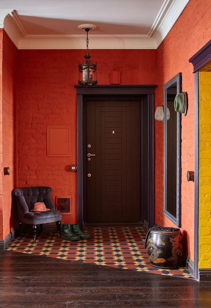 Beazer Home Reviews   Eclectic Entry  and Chinese Stool Lantern Painted Brick Red Wall Tile
