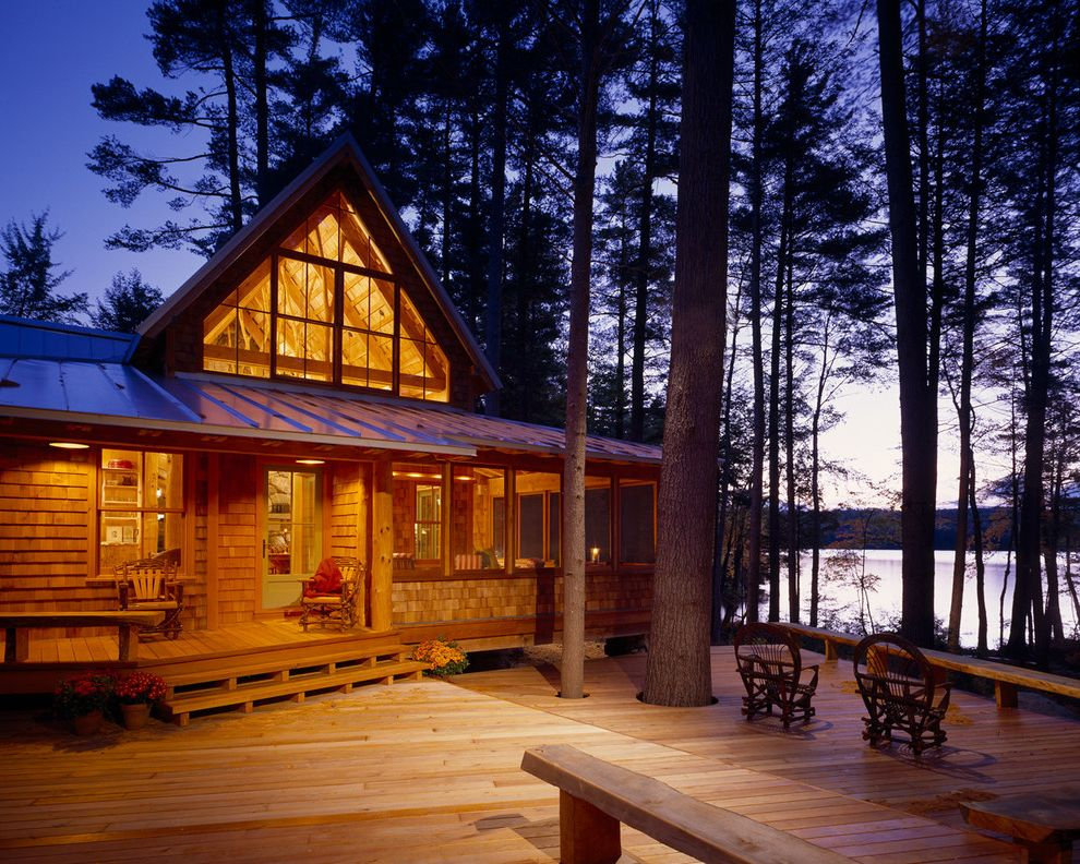 Becks Furniture   Rustic Exterior Also Cabin Camp Deck Entrance Entry Gable Roof Home Lakefront Maine Metal Roof Nature New England Night Patio Furniture Retreat Rustic Site Vacation View Waterfront Willow Furniture Wood