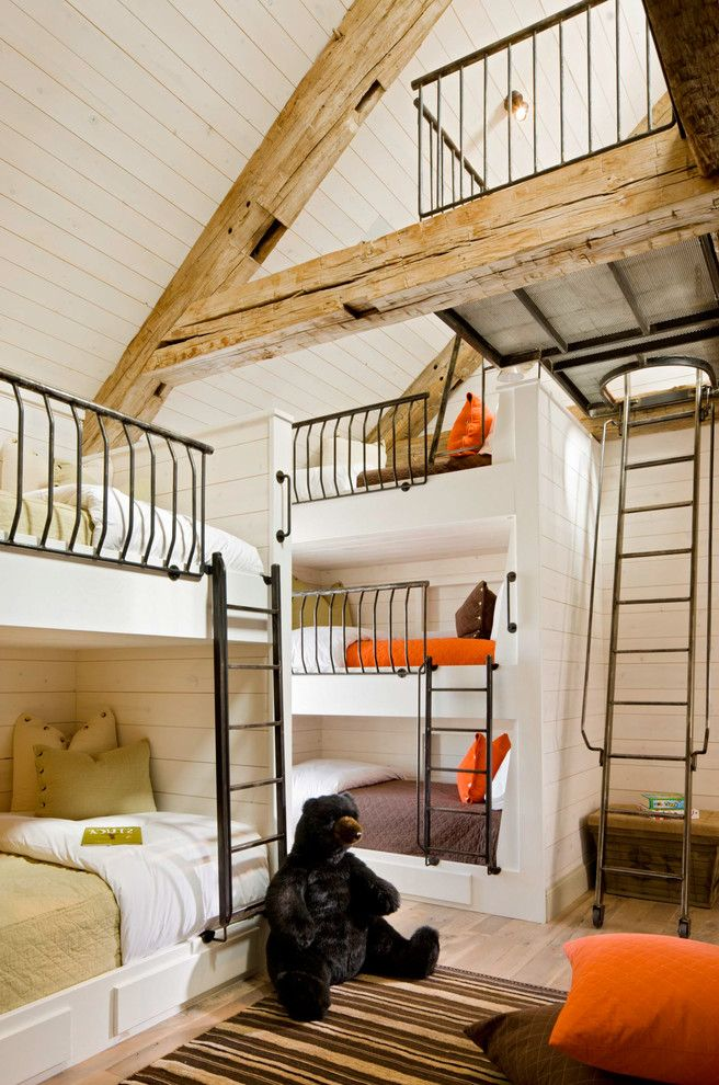 Beddys Beds   Rustic Kids Also Black Bear Black Ladder Cabin Childrens Room Dorm Gender Neutral Grandkids High Ceiling Kids Beds Kidss Bedroom Large Stuffed Animal Metal Ladder Orange Bedding Rustic Wood Beams Sloped Ceiling Stuffed Bear Triple Bunk Bed