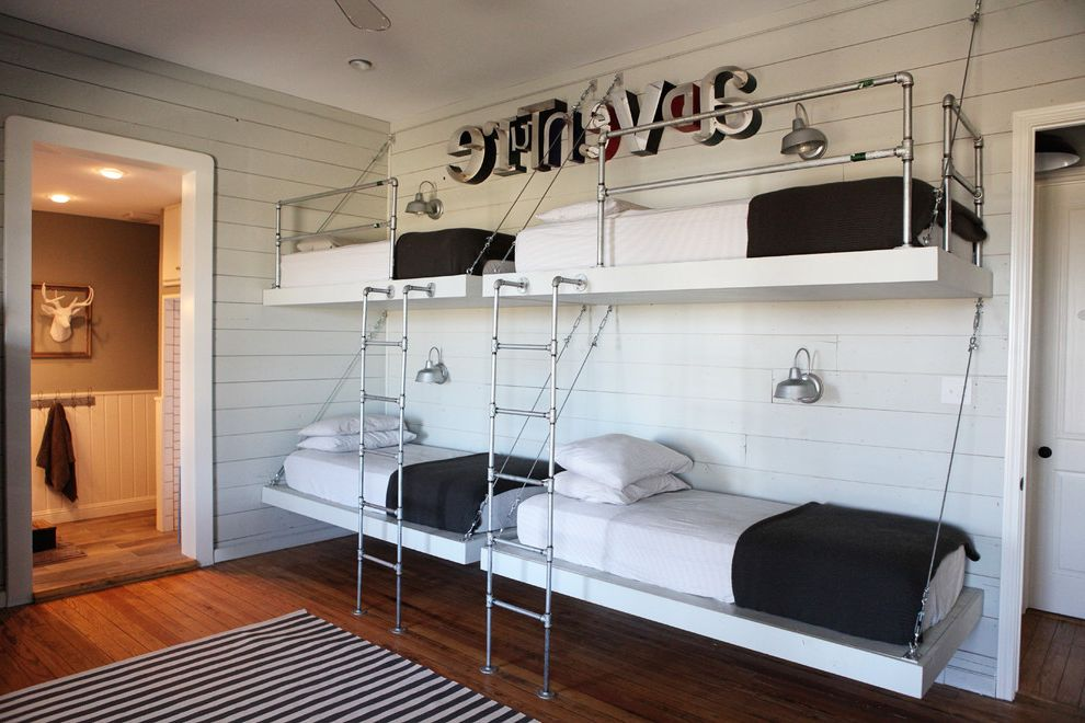 Beddys Beds with Farmhouse Kids Also Bed Ladders Bunk Beds en Suite Paneling Striped Rug Wall Letters Wall Sconces