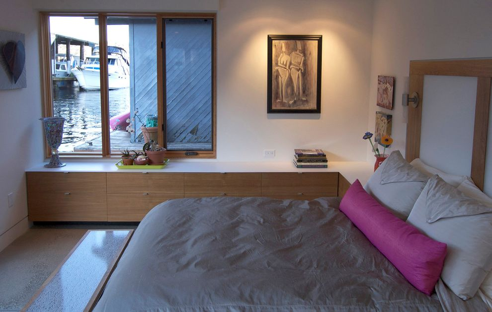 Bedroom Ac Unit   Contemporary Bedroom  and Artwork Built in Cabinetry End of Bed Bench Flat Panel Cabinets Gray Duvet Houseboat Master Bedroom Pink Bolster Reading Light Sliding Window Wall Sconce Water Front White Counter Wood Windows
