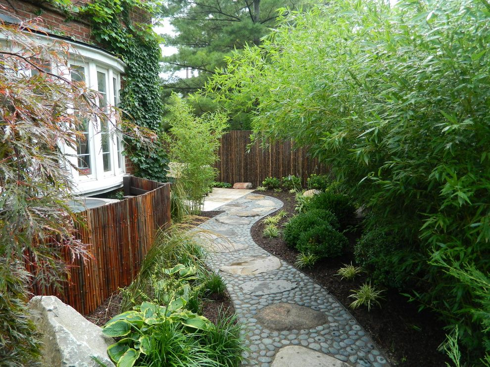 Bedroom Ac Unit with Asian Landscape  and Bamboo Fence Bamboo Plants Bow Window Brick Siding Stone Path
