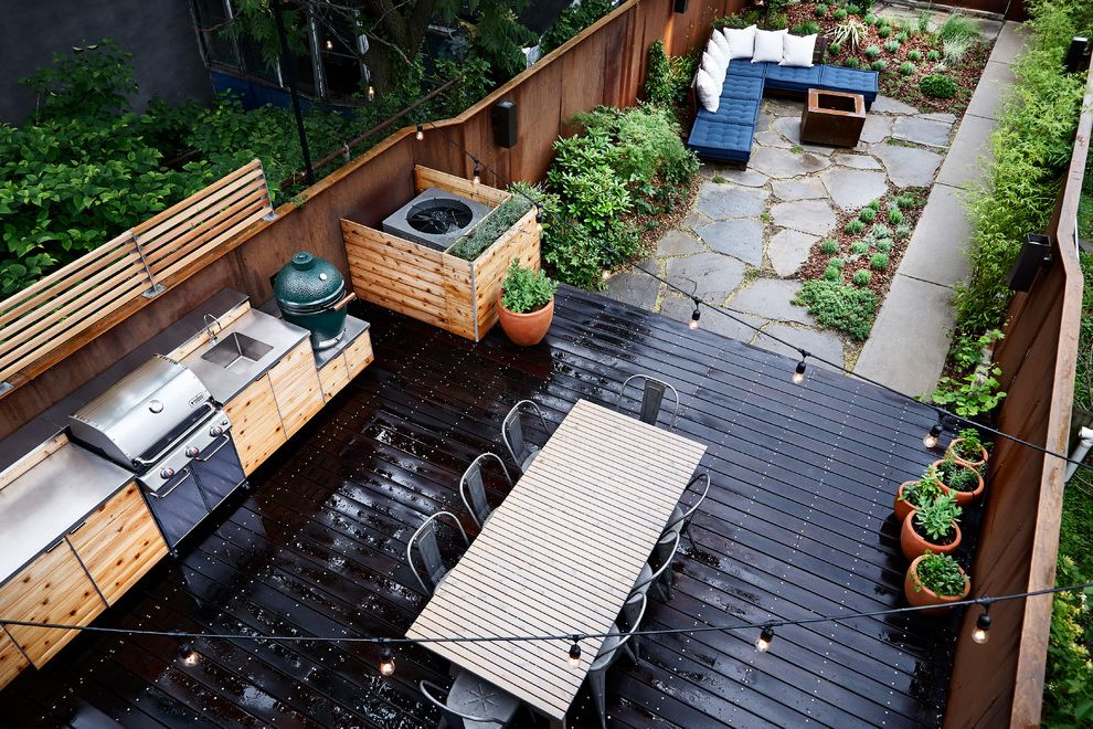 Bedroom Ac Unit with Contemporary Patio  and Brooklyn Cedar Flagstone Garden Ipe Deck Knotty Pine New York Outdoor Dining Outdoor Kitchen Outdoor Lighting Outdoor Seating Potted Plants String Lights Wood Slats