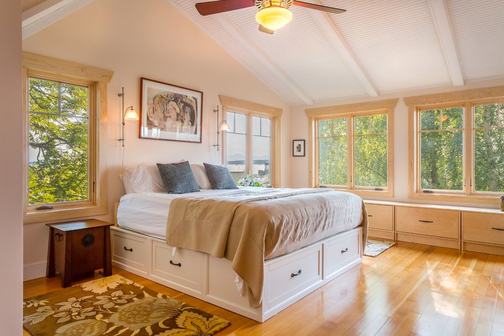 Bedroom Sets with Drawers Under Bed   Beach Style Bedroom Also Beach House Bench Seat Built Ins Ceiling Fan Platform Bed Reading Lamp Sloped Ceilings Storage Bench Under Bed Storage Vaulted Ceilings Western Windows Window Seat Windows Wood Floors