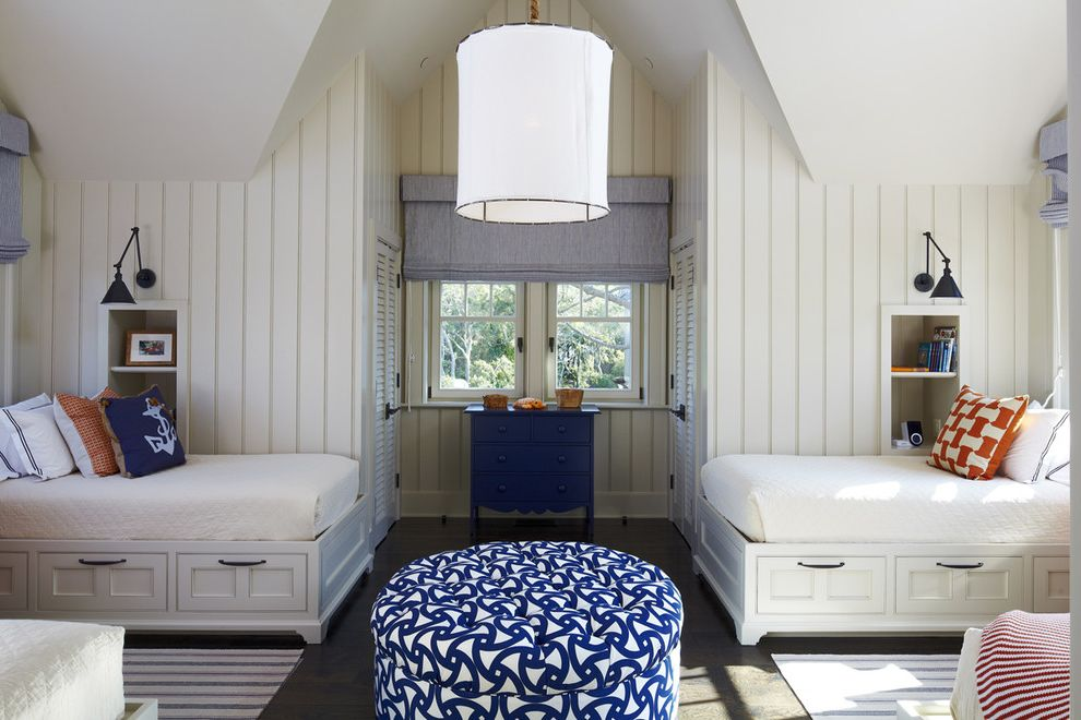 Bedroom Sets with Drawers Under Bed   Beach Style Kids  and Beach House Beadboard Bed Blue and White Ottoman Blue Chest of Drawers Built in Shelves Ceiling Light Ottoman Vaulted Ceiling White Bed Window Treatment