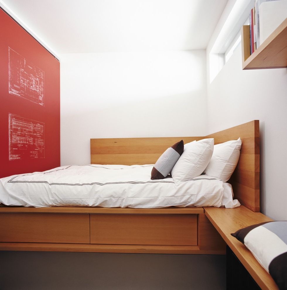 Bedroom Sets with Drawers Under Bed with Contemporary Bedroom  and Accent Wall Architectural Drawing Mural Bed Drawers Built in Bed Clerestory Windows Douglas Fir Red and White Red Wall Schematic Drawing Mural Silkscreen Under Bed Storage White Wall