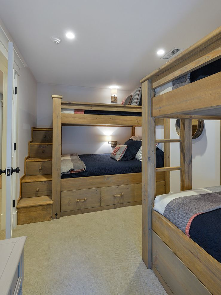 Bedroom Sets with Drawers Under Bed with Tropical Bedroom  and Beige Carpet Blue Bedding Bunk Beds Bunk Room Recessed Lighting Stair Storage Under Bed Drawers Under Bed Storage Wood Bed Frame