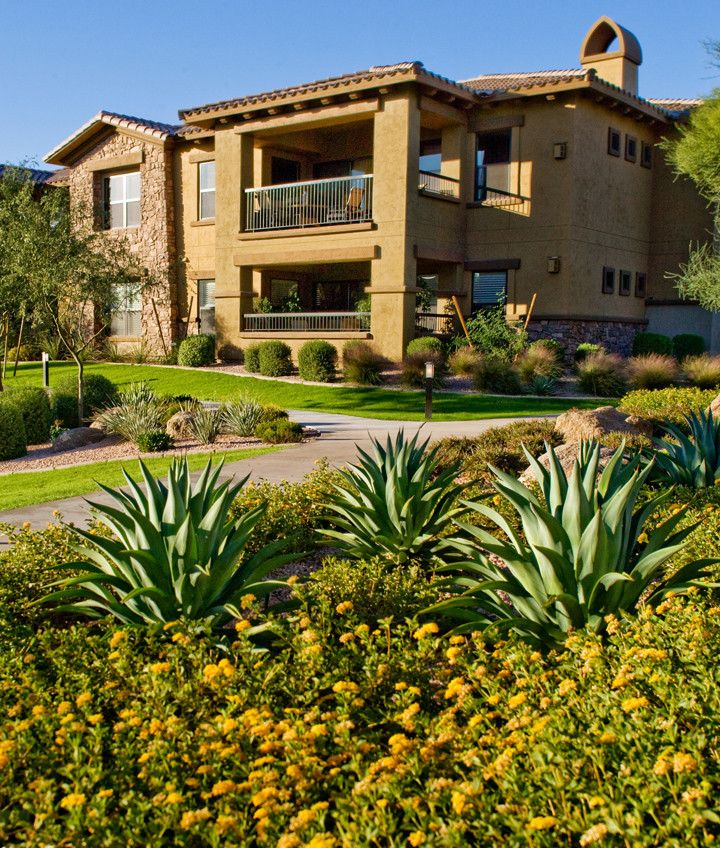 Bella Monte at Desert Ridge   Southwestern Exterior Also Bushes Condo Condominium Desert Landscaping Landscaping Luxury Luxury Condominium Plants Shrubs Southwestern Town Home Town House Townhome Townhouse