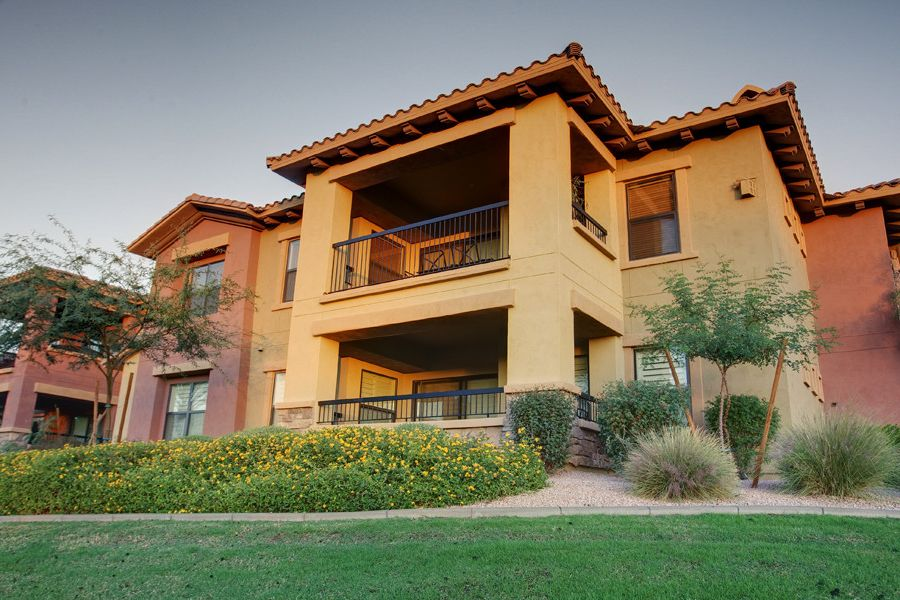 Bella Monte at Desert Ridge   Southwestern Exterior  and Balcony Condo Condominium Golf Course Condo Golf Course Condominium Landscaping Luxury Luxury Condominium Mixed Siding Patio Stucco Town Home Town House Townhome Townhouse