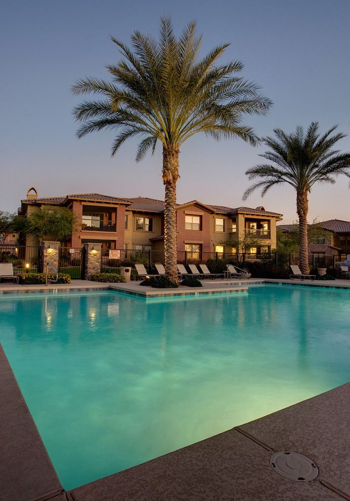 Bella Monte at Desert Ridge with  Exterior Also Community Pool Condo Condominium Exterior Palm Tree Palms Pool Southwestern Southwestern Style Stucco