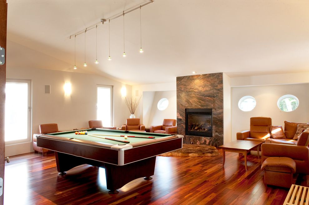 Bellawood Brazilian Cherry with Contemporary Family Room Also Pool Table