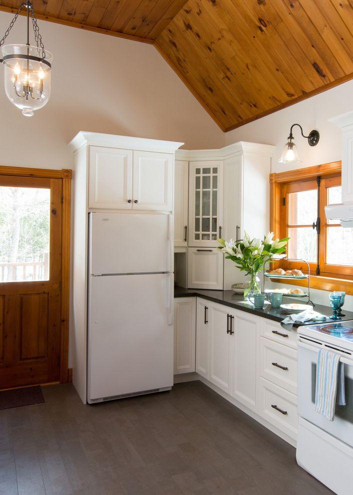 Benefits of Cork Flooring with Rustic Kitchen Also Black Cabinet Pulls Black Countertop Corner Blocks Gray Floor Tile Hurricane Lanterns Log Cabin Kitchen Vaulted Ceiling