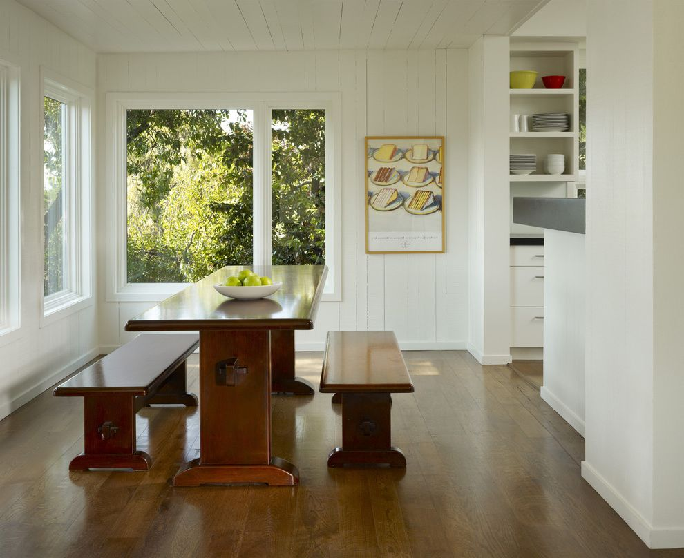 Benjamin Moore Decorators White with Transitional Dining Room  and Baseboards Corner Windows Dining Bench Fruit Bowl Minimal Rustic Trestle Table Wall Art Wall Decor White Wood Wood Ceiling Wood Flooring Wood Siding Wood Trim