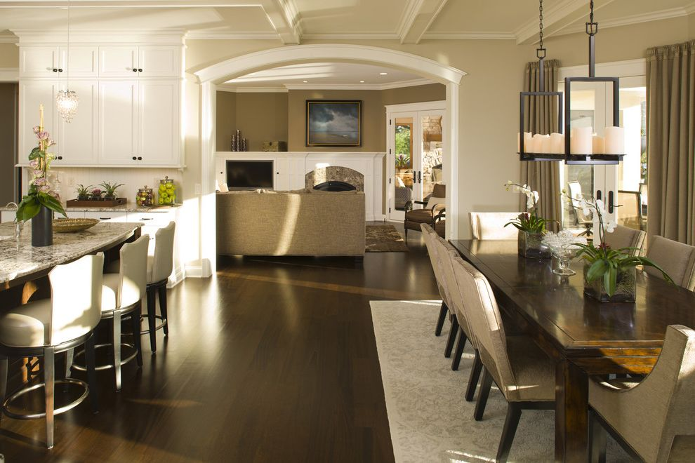 Benjamin Moore Greenbrier Beige   Traditional Kitchen Also Archway Breakfast Bar Coffered Ceiling Crown Molding Eat in Kitchen Neutral Colors Open Kitchen Upholstered Dining Chairs White Wood Wood Molding