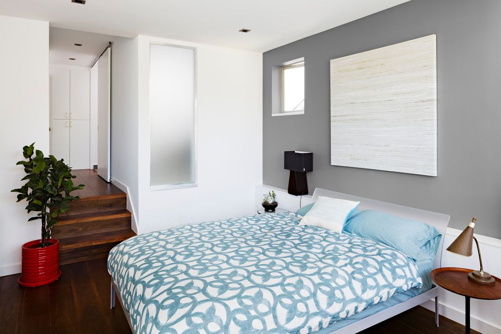 Benjamin Moore Stormy Monday   Contemporary Bedroom Also Black Table Lamp Blue Bedding Blue Patterned Bedding Brown Table Lamp Dark Wood Floor Frosted Glass Window Gray Wall Plexi Bed Plexi Headboard Square Window Step Down Bedroom White Wall