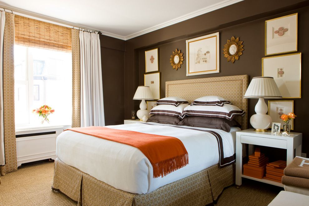 Benjamin Moore Stormy Monday   Traditional Bedroom  and Bedside Tables Brown City Apartment City Living Custom Lamp Shades David Hicks Framed Intaglios Frette Master Bedroom Orange Radiator Cover Sisal Warm Color Scheme Wendy Artin