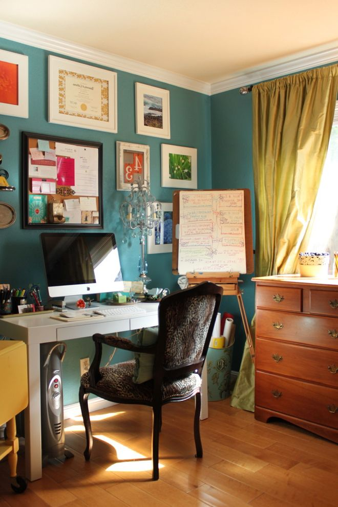 Benjamin Moore Stormy Monday with Eclectic Home Office Also Benjamin Moore Rendezvous Bay Colorful Office Feminine Room Home Office Leopard Chair Turquoise Turquoise and Lime Green Turquoise Paint Vintage Inspired