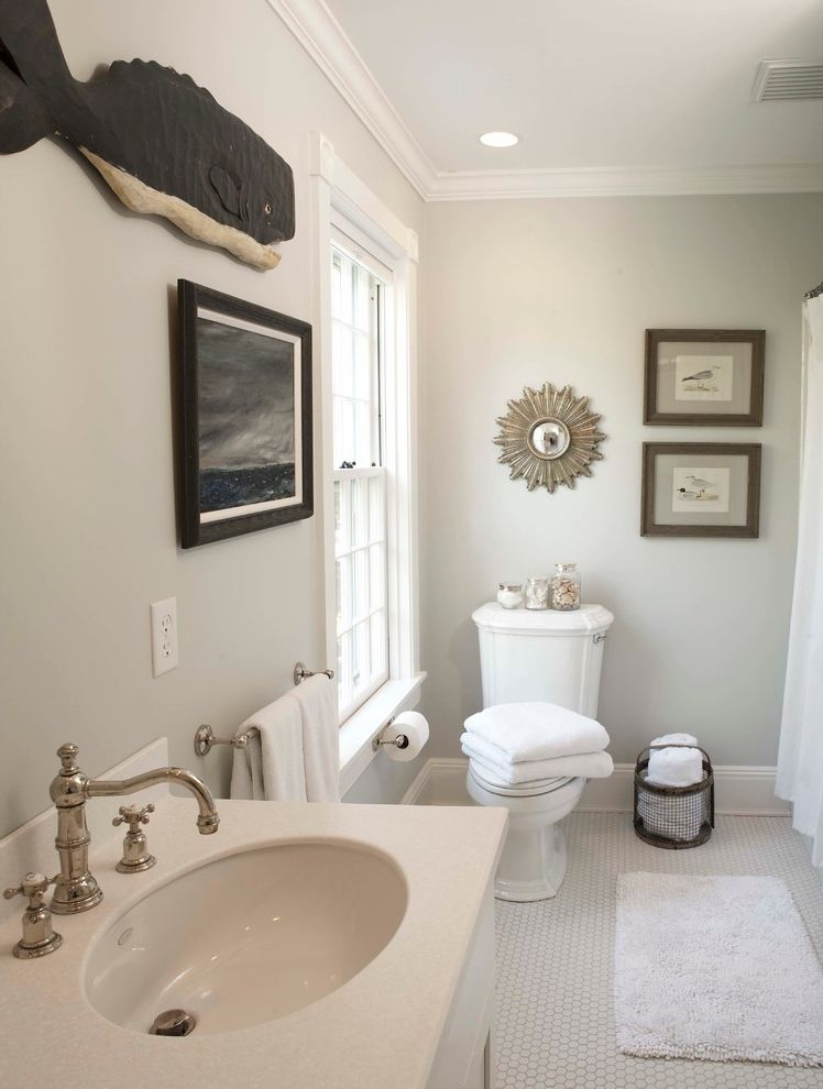 Benjamin Moore Stormy Monday with Traditional Bathroom Also Baseboards Double Hung Windows Folk Art Gray Grout Gray Walls Master Bath Mosaic Tile Penny Tile Whale Art White Bathroom