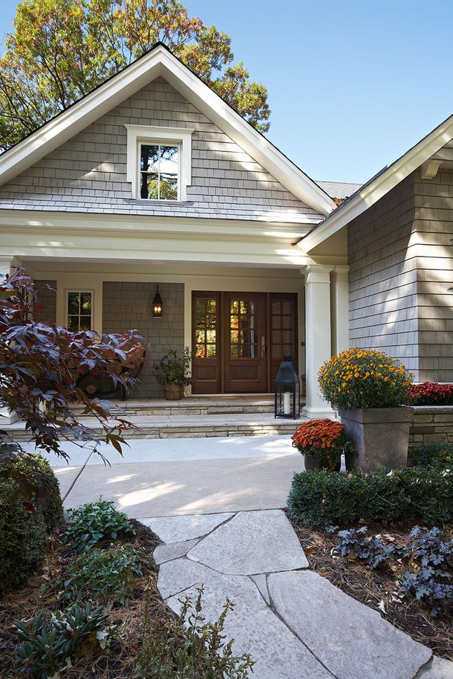Benjamin Moore Stormy Monday with Traditional Exterior Also Covered Porch Flagstone French Door Gray Lantern Path Plant Pots Shingle Stone Wall White Painted Trim
