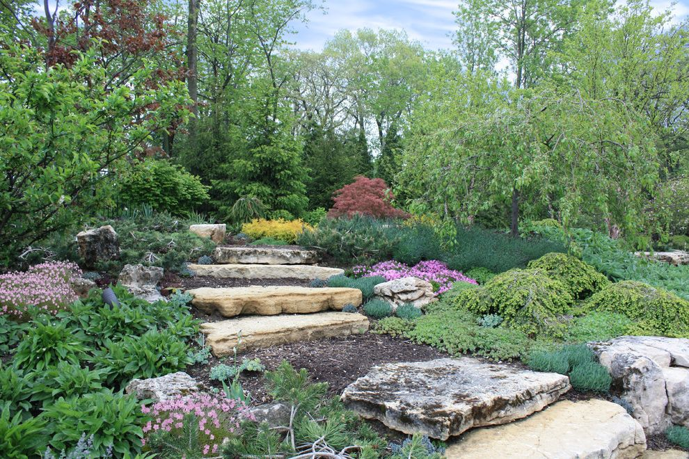 Bennett Property Management   Contemporary Landscape  and Birch Colorful Crabapples Evergreen Garden Hemlock Lush Maples Mulch Path Perennials Pine Pinks Purples Soil Spruce Steps Stone Slab Stone Stairs