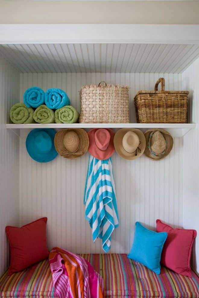 Best Buy Deerfield Beach   Beach Style Entry  and Beach Towels Built in Seat Colorful Mudroom