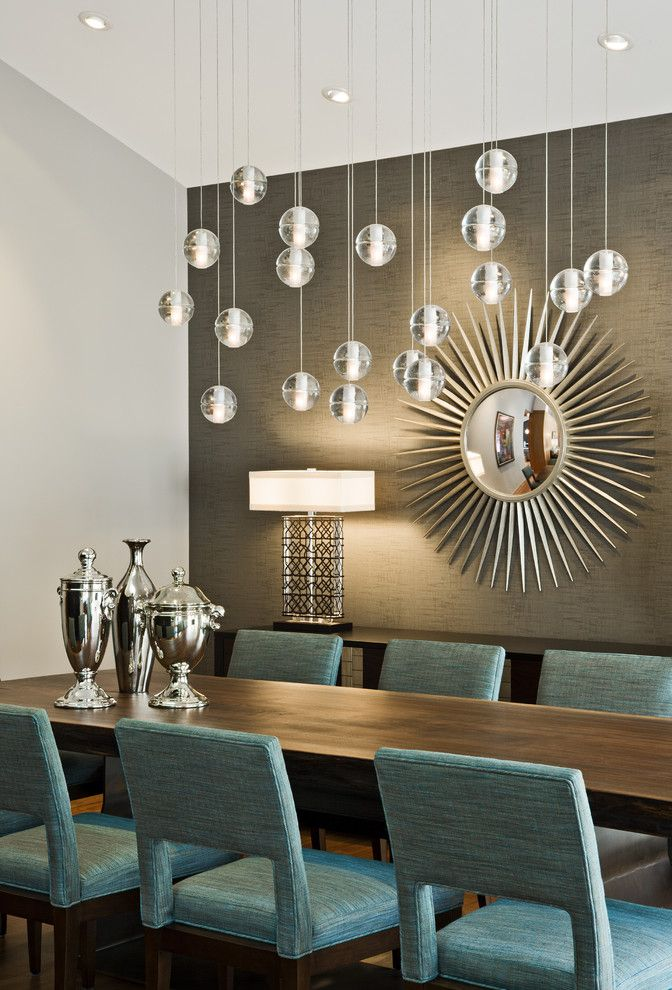 Best Buy Redmond   Midcentury Dining Room Also Console Table Dining Table Gray Accent Wall Pendant Lights Silver Starburst Mirror Table Lamp Turquoise Vaulted Ceiling