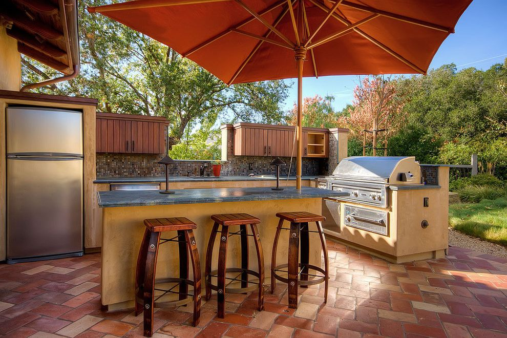 Best Cantilever Umbrella with Contemporary Patio  and Barbecue Built in Storage Grill Outdoor Bar Outdoor Kitchen Patio Umbrella Saltillo Saltillo Floor Saltillo Tile Saltillo Tile Floor Saltillo Tile Flooring Stainless Steel Appliances