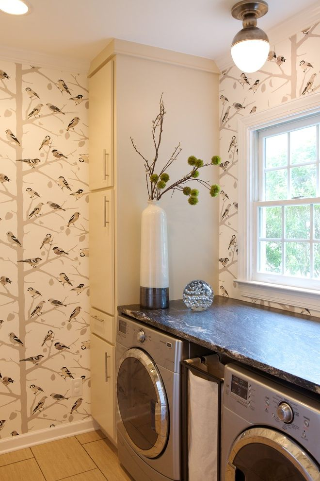 Best Dryer for the Money with Transitional Laundry Room  and Bird Print Ceiling Lighting Floral Arrangement Front Loading Washer and Dryer Sconce Tile Flooring Wallcoverings Wallpaper White Wood Wood Trim