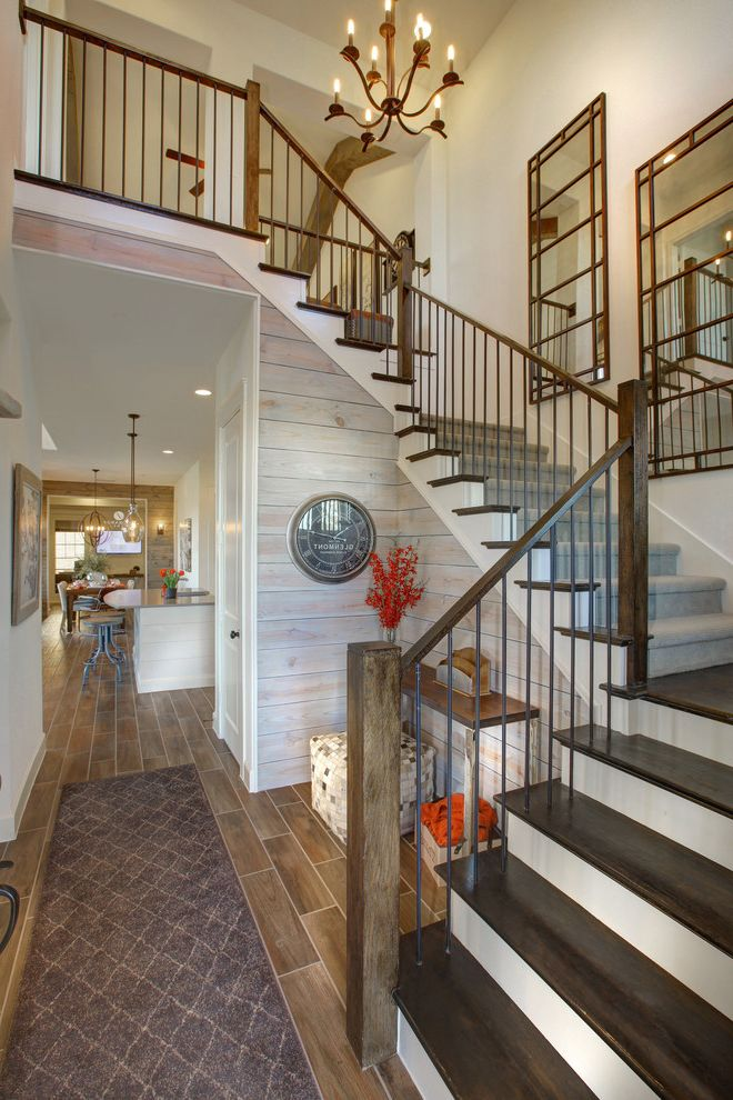 Best Movers in Dallas with Farmhouse Entry  and Brown Runner Chandelier Staircase Wall Mirrors Wood Wall Paneling