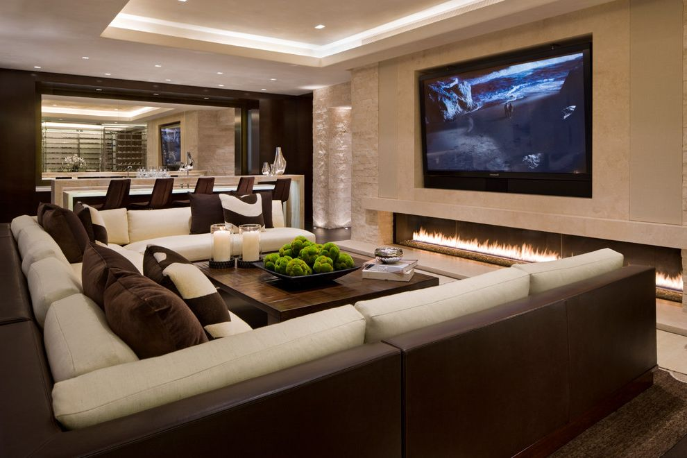 Best Place to Buy a Sectional   Contemporary Family Room  and Bar Chocolate Brown Cream Ivory Linear Fireplace Long Fireplace Media Room Recessed Lighting Sectional Couch Sectional Sofa Soffit Theatre Tray Ceiling Two Toned Sofa Wood Coffee Table