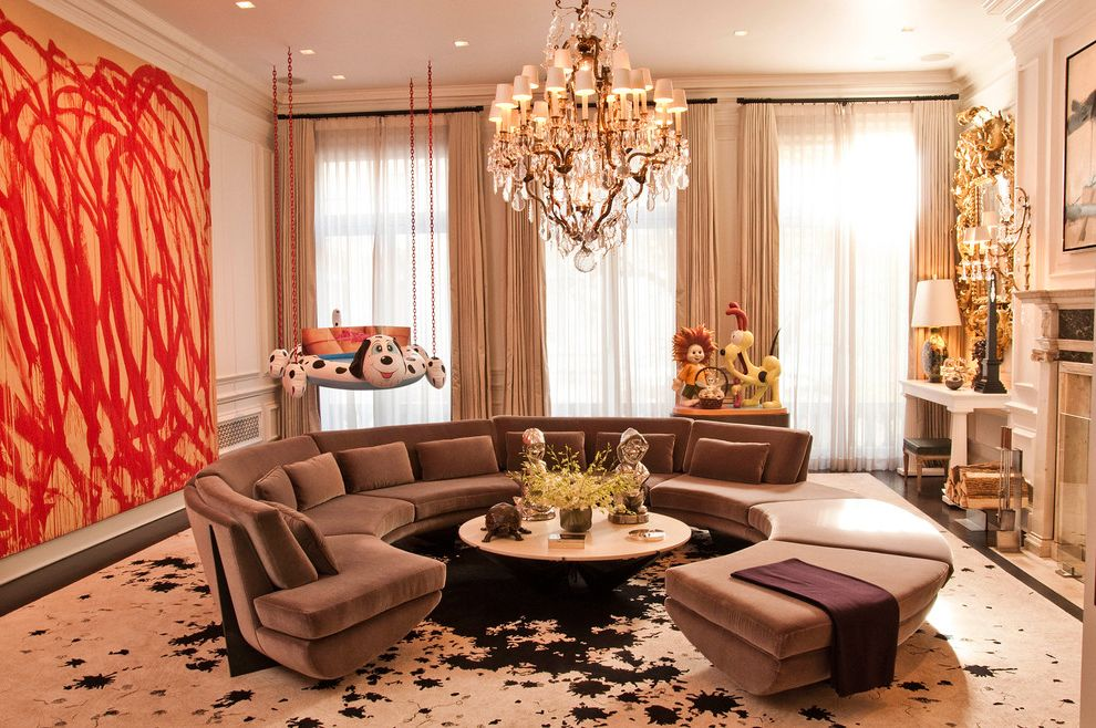 Best Place to Buy a Sectional   Contemporary Living Room  and Artistic Crystal Chandelier Fireplace Large Chandelier Large Painting Mantel Odie Round Coffee Table Round Sofa Sculpture Sectional Sofa Sheer Curtains Splatter Swing Tan Curtains