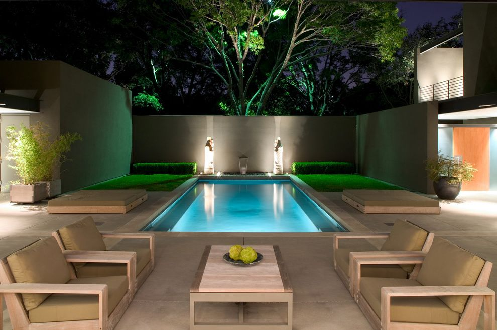Best Pools in Las Vegas   Contemporary Pool  and Landscape Lighting Landscaping Outdoor Bed Outdoor Furniture Outdoor Lounge Wood Framed Armchairs