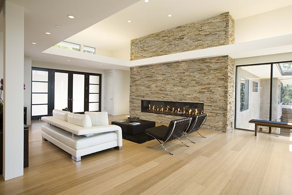 Best Way to Clean Bamboo Floors with Modern Living Room  and Barcelona Chair Bench Black Rug Glass Doors Glass House Hardwood Floors High Ceiling Large Window Leather Sofa Modern Fireplace Recessed Lighting Shoji Screen Stone Fireplace White Sofa