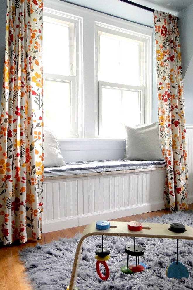 Best Way to Wash Windows   Contemporary Kids Also Area Rug Beadboard Curtains Decorative Pillows Double Hung Windows Drapes Floral Curtains Nook Throw Pillows Wainscoting White Wood Window Seat Window Treatments Wood Flooring Wood Trim Wooden Toys