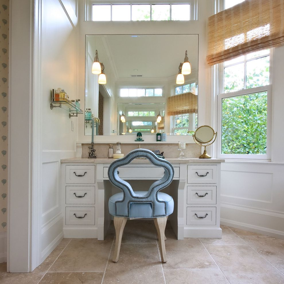 Best Way to Wash Windows   Traditional Bathroom Also Blue Chair Board and Batten Chair Rail Custom Chair Dado Natural Lighting Reclaimed Barnwood Straw Blinds Transom Windows Vanity Wainscotting